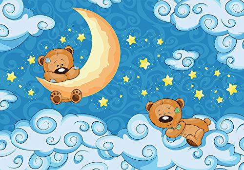 DekoShop Fototapete Vlies Wanddeko Kinderzimmer Kinder - Mädchen Jungen Tiere Teddybär Moderne Wanddekoration 12798V8 368cm x 254cm