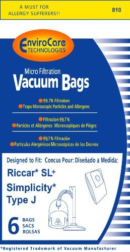 Riccar SL+ & Simplicity Type J Bag for Champ, 6 Bags by Riccar Simplicity