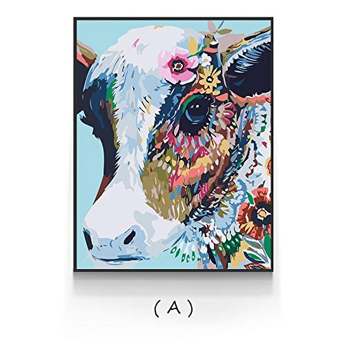 N / A Pintura sin Marco Pintura Abstracta sobre Lienzo Vaca Colorida Tigre Cartel único Arte de la Pared Decorar Sala de Estar dormitorioZGQ7066 60X85cm