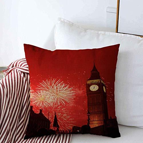 Moily Fayshow Funda de Almohada Fuegos Artificiales de Medianoche sobre el Big Ben de Londres Noche Ciudades Capitales Celebrar Reloj Casa de Campo Funda de cojín 16 '