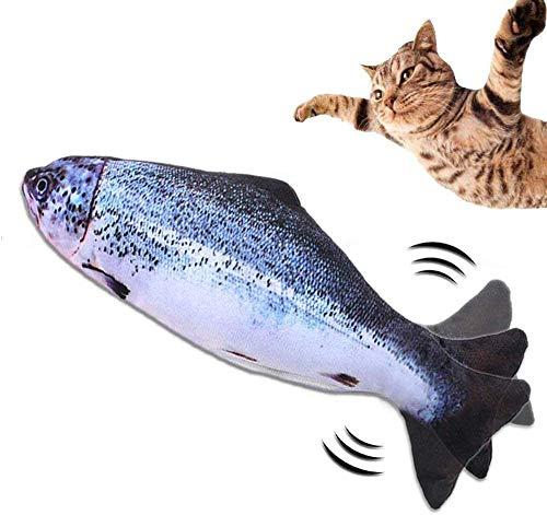 BIGFOX Catnip Giocattoli USB Ricaricabile,Giocattoli Elettrici per Pesci,Gioco Gatto,Simulazione Peluche di Pesce,Giochi Gatti,Alexo Pesce per Gatti