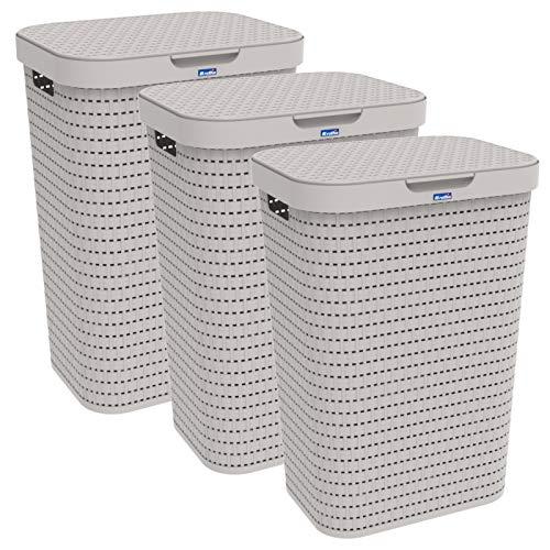 Rotho Country 3er-Set Wäschesammler 55l mit Deckel, Kunststoff (PP) BPA-frei, Cappuccino, 3x55l (42,0 x 32,2 x 57,7 cm), 42 x 32, 3