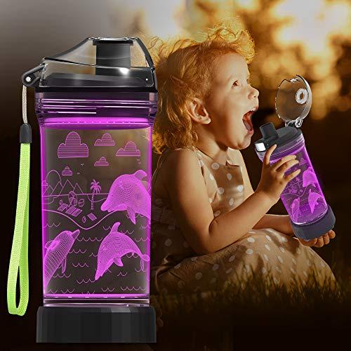 Botella de agua para niños, taza brillante 3D, luz LED con ilusión de delfines oceánicos, luz que cambia de 7 colores, sin tritan BPA de 14 oz