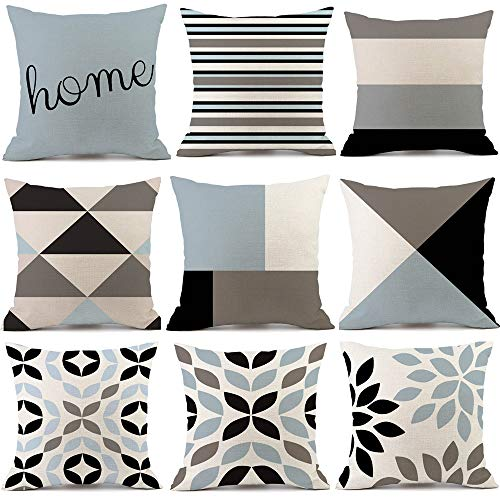 Paquete de 9 fundas de almohada geométricas coloridas fundas de almohada de lino, fundas de almohada decorativas fundas cuadradas, para el sofá del dormitorio del hogar 45 x 45 cm