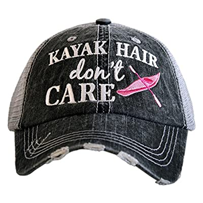 KATYDID Kayak Hair Don't Care Baseball Cap - Trucker Hat for Women - Stylish Cute Sun Hat Gray Hot Pink