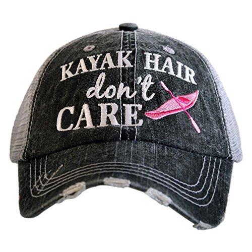 KATYDID Kayak Hair Don't Care Baseball Hat - Women's Trucker Hat Cap Gray Hot Pink