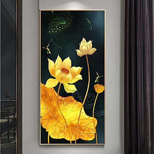 DIY 5D Diamond Painting por Número Kit completo Loto dorado2),Diamond Painting Round Grande Bordado Cristal diamante Artes para decoración de la pared hogar Regalo(80x160cm,32x64in)
