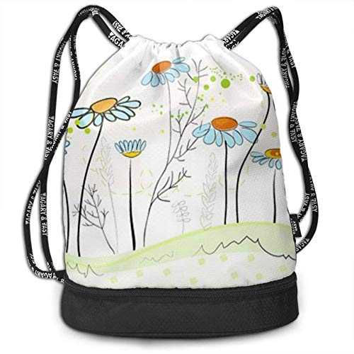 XCNGG Drawstring Backpack,Floral Daisy Flowers Print Sport Travel Gym Bundle Backpack Bag