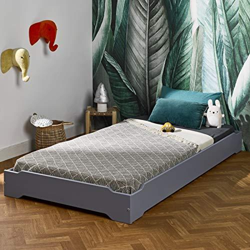 Alfred & Compagnie - Cama apilable (pino macizo, 90 x 190 cm), color gris koala