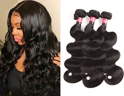 West Kiss Brazilian Body Wave Human Hair Weave 3 Bundles Full Head Set Virgin Hair Double Weft Unprocessed Natural Black Color (20 22 24)
