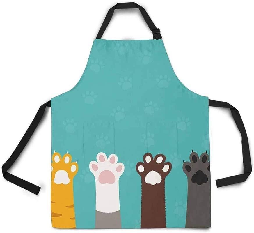 Ashasds Cat Paws Legs Dog Paw Cute Animal Cartoon Apron For Women Men Girls Chef Adjustable Bib Kitchen Cook Apron For Cooking Baking Gardening Pet Grooming Cleaning