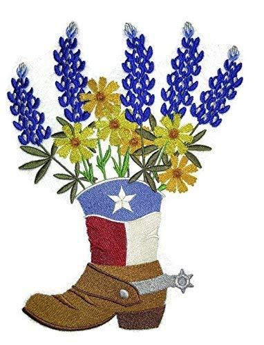 BeyondVision Texas bloemen in cowboy-laarzen geborduurd ijzer naaien patches 6.9 * 9 x9 grijs, zwart, wit, groen, rood