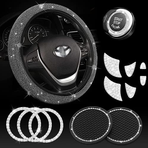 JINGSEN Steering Wheel Cover for Women Bling Crystal Diamond Sparkling Car Accessories Fit for Toyota Camry,Corolla,Rav4,4runner Cover Rhinestone Decals Steering Wheel Cover Universal Fit 15 Inch