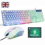 Juego de teclado y ratón para UK diseño, Lexon Tech Rainbow LED retroiluminado con teclado y combo de ratón, con sensación mecánica Gamer teclado con Ratón óptico de 6 botones+ alfombrilla de ratón