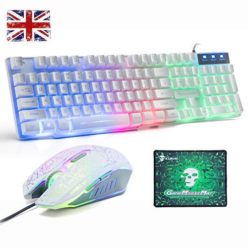 Juego de teclado y ratón para UK diseño, Lexon Tech Rainbow LED retroiluminado con teclado y combo