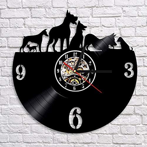 fdgdfgd De diseño de Reloj de Vinilo de Cachorro Reloj de Pared para Mascotas Reloj de Pared de Registro de Vinilo de Animales Reloj Art Deco | Reloj de Pared de Bricolaje Luminoso de 7 Colores