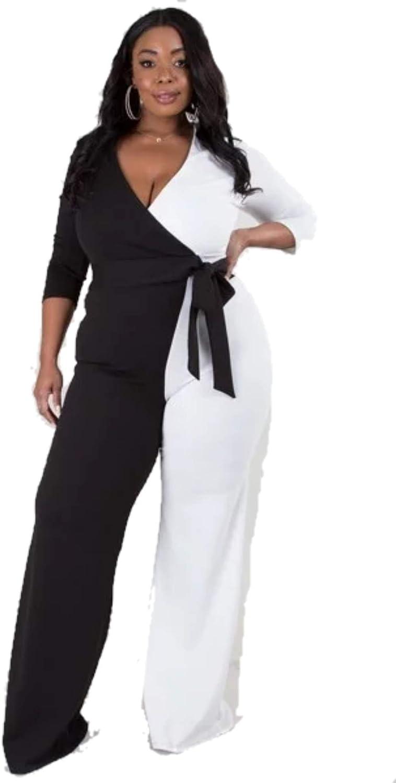 L'Diva Couture Boutique Black and White Wrap Wide Leg Jumpsuit Plus Size