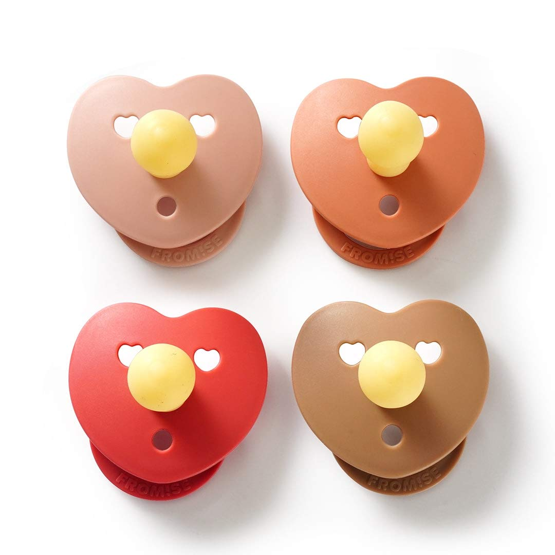 Fromise OFFicial Silicone favorite Baby Pacifiers Heart Pacifier of 4 Ste Pack
