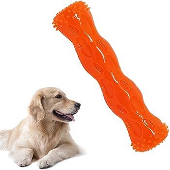 CEESC 犬歯磨き ワンちゃん 噛むおもちゃ 耐久性 丈夫 清潔 スティック 知育 運動不足やストレス解消 音が出る ペット用 (M, オレンジ)