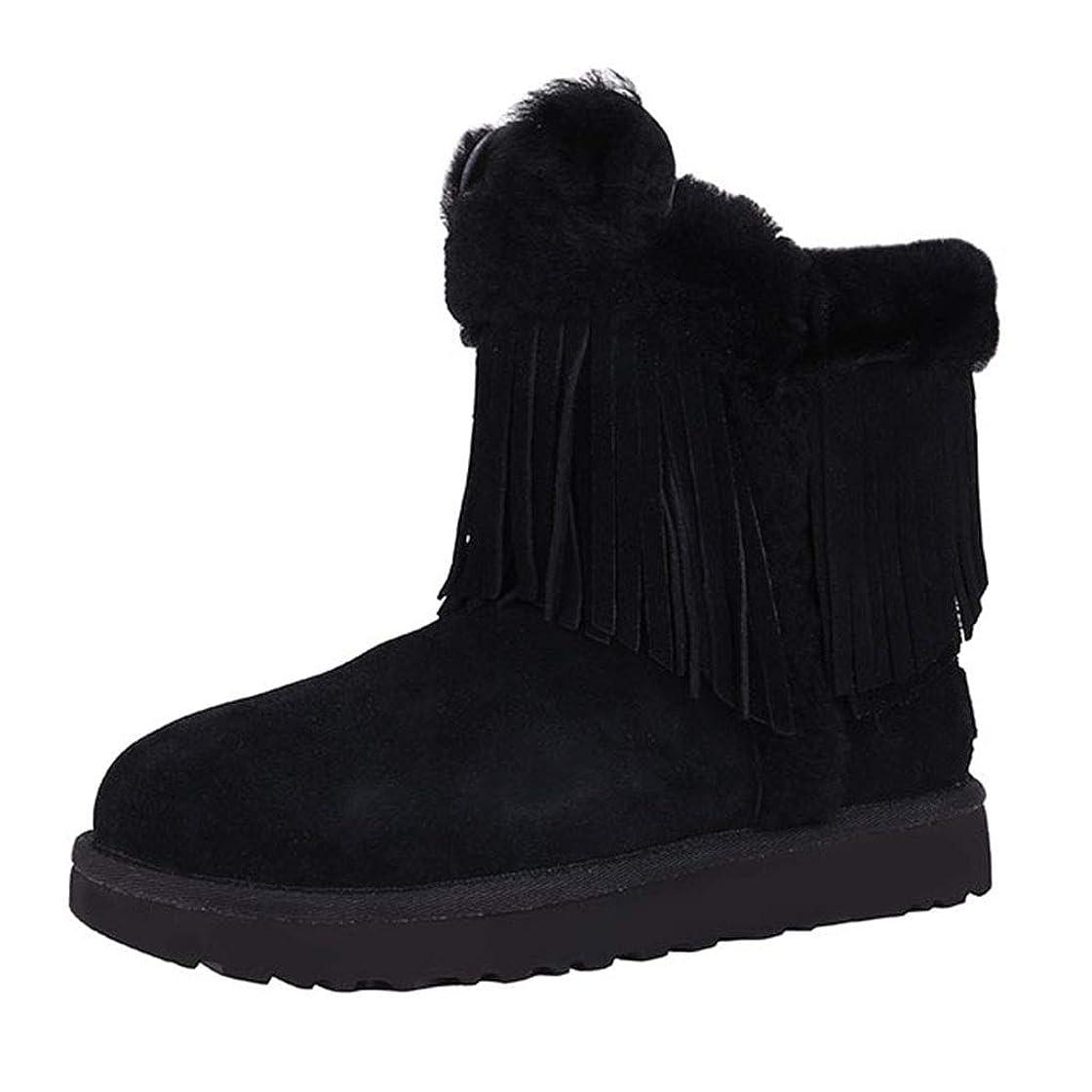 幸運なアジア系統的レディーススノーブーツブーツカジュアルシューズフラットボトムプラスベルベット綿の靴靴防水スノーブーツノンスリップシューズ 安全?保護用品 (Color : Black, Size : 39)