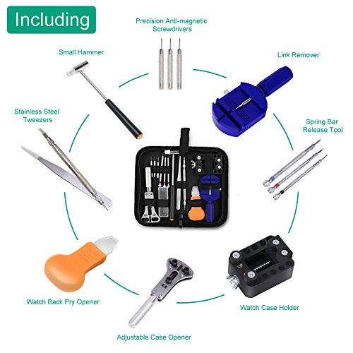 GHB Watch Repair Tool Kit Case Portable Watch Back Removing Tool with a Free Hammer Watch Fixing Tool