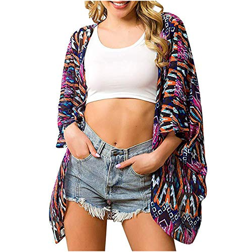 qolati 2021 - Blusa de playa para mujer, bikini, ropa de protección solar, gasa estampada Rosa Caliente. L