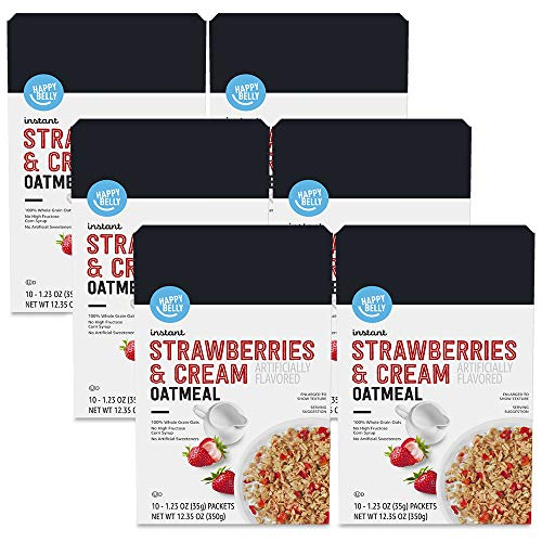 Amazon Brand - Happy Belly Instant Oatmeal, Strawberries & Cream, 10 Count (Pack of 6)