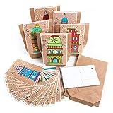 Logbuch-Verlag DIY Adventskalender Set 24 Geschenktüten Kraftpapier + 24 weihnachtliche Postkarten...