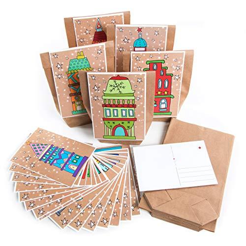 Logbuch-Verlag DIY adventskalender set 24 geschenkzakjes kraftpapier + 24 kerstbriefkaarten met cijfers 1-24 kleurrijke kerstkaarten + houten klemmen knutselen zelfmaken