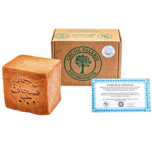 Grüne Valerie® Original Aleppo Seife 200g+ 20% / 80% Lorbeeröl/Olivenöl - Haarwaschseife/Duschseife PH Wert 8 Detox, Handarbeit -über 6 Jahre gereift, Bekannt aus dem Reformhaus!