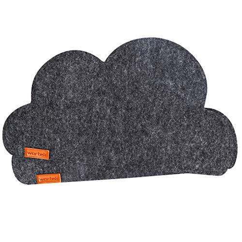wortek Filz Platzset Wolkenform Schwarz - Deko Tischset Filz abwischbar 45x25cm - abwaschbare Platzdecken für Esstisch - Tischunterlage Tichdecken Untersetzer Kinder Wolke 2er Set