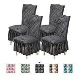 Youjoy Universal Dining Chair Slipcover, High Stretch Easy Fitted Chair Slipcovers 4-Piece Chair Cover with Ruffle Skirt for Kids Pets Home Ceremony Banquet Wedding Party.Dark Gray