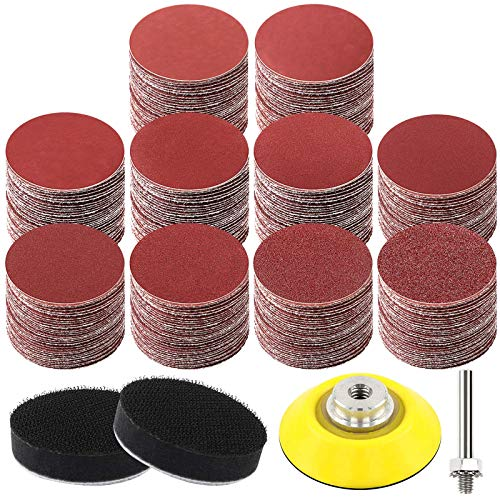 HongWay 300pcs 2 Inches Sanding Discs Pad Kit for Drill Grinder Rotary Tools with Backer Plate Shank and Soft Foam Buffering Pad, Sandpapers Includes 60-3000 Grit
