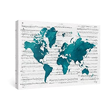 SUMGAR World Map Framed Canvas Paintings of Modern Teal Blue Music Wall Art Decor for Bedroom,16x24