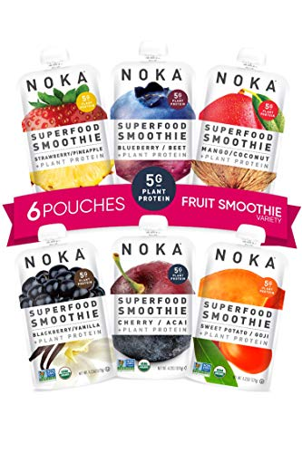 NOKA Superfood Smoothie Pouches 6 Pack (Variety) | 100% Organic Healthy Fruit And Veggie Squeeze Snack Packs | Meal Replacement | Non GMO, Gluten Free, Vegan, 5g Plant Protein | 4.2oz Each