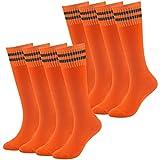 Baseball Socks Girls Socks Novelty Fancy Design Striped Soccer Rugby Tube Socks Fasoar 8 Pairs Orange
