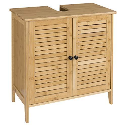 eSituro Mueble Bajo Lavabo Armario de Suelo para Baño Mueble de Baño Organizador Estante de Baño Armario de Almacenamiento, Bambú Natural 60x30x60cm SBP0025