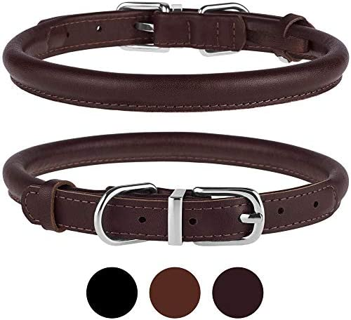 BRONZEDOG Rolled Leather Dog Collar Durable Metal Buckle Round Pet Collars for Small Medium product image