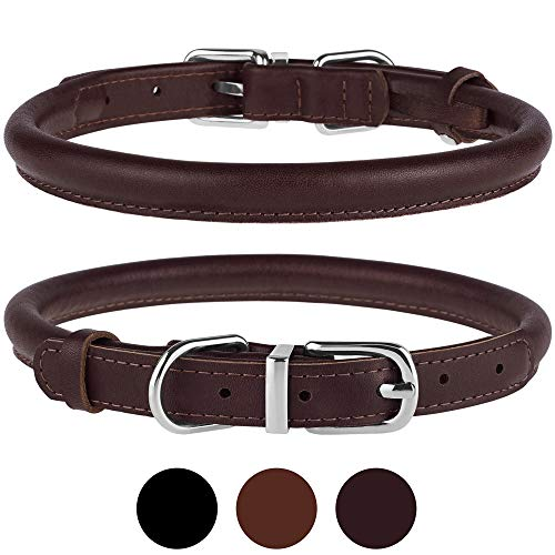 BRONZEDOG Rolled Leather Dog Collar Durable Metal Buckle Round Pet Collars for Small Medium Large Dogs Puppy Black Brown (Neck Size 13