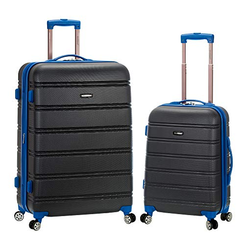 Rockland Melbourne Hardside Expandable Spinner Wheel Luggage, Grey, 2-Piece Set (20/28)