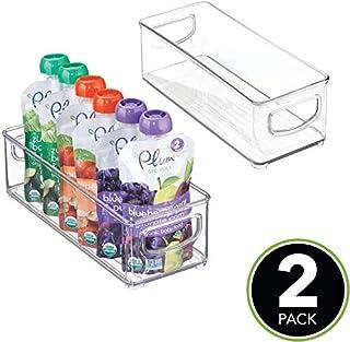 "2 Pack Kitchen Refrigerator Storage Organizer Bin with Handles, for Pouches, Jars, Bottles, Formula, Juice Boxes, 10"" x 4""..."