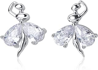 Crystal Ballet Dancer Sterling Silver Stud Earrings for Women Little Girls CZ Nickel Free Tiny Small Dancing Ballerina Car...