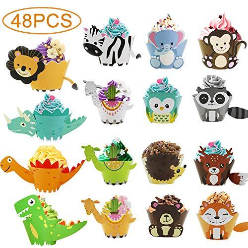 WENTS Cupcake Wrapper 48 Stücke Verschiedene Muster Tiere Cupcake Wrapper Dekoration für Kinder Geburtstag Party Geburtstag Deko Hochzeit Kuchen Deko Kinder Jungen Mädchen