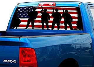 P475 American Flag Army Tint Rear Window Decal Wrap Graphic Perforated See Through Universal Size 65
