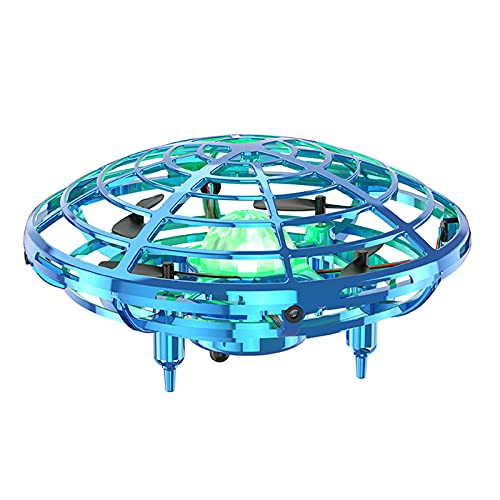 OMOTIYA Mini UFO Drones for Kids, LED Kids Drone for Age 8-12, Flying Toys Hand Controlled Drone for Kids 4-6 With 360 Degree Rolling, Colorful Lights, Indoor Drone for Family Game (Blue)