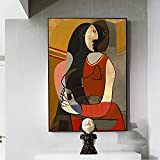 Crazystore Arte de Pared 30x50cm sin Marco Picasso Pinturas Famosas Mujer sentada Arte de Pared Imágenes Reproducciones de Pintura Abstracta Decoración de la Pared del hogar