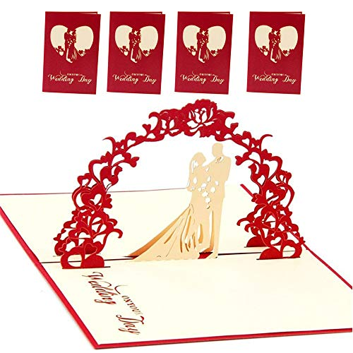 3D Pop-Up Wedding Greeting Card for Wedding Birthday Valentine's Day 4 Pack