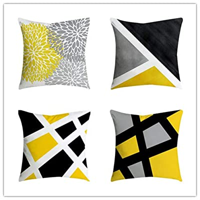 Decorative Throw Pillow Covers 18 x 18 Inch Double Side Design,Toonshare Set of 4 Cotton Linen Indoor Outdoor Pillow Case Cushion Cover for Car Sofa Home Decor