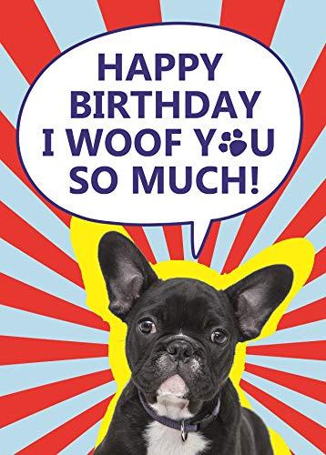 Süße Geburtstagskarte für Hundeliebhaber, Motiv: Französische Bulldogge | A5 Seide, 350 g/m²