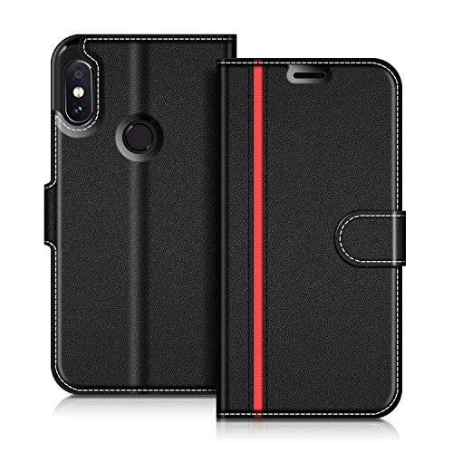 COODIO Handyhülle für Xiaomi Redmi Note 5 Handy Hülle, Xiaomi Redmi Note 5 Hülle Leder Handytasche für Xiaomi Redmi Note 5 Klapphülle Tasche, Schwarz/Rot